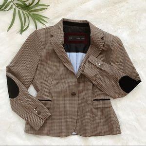 Zara brown checkered blazer with elbow patches